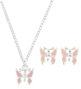 Kids / Children Pink Butterfly Stud Earrings & Necklace Set - Girls Jewellery Gift Set